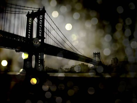 Night View. New York Manhattan Bridge. Bokeh