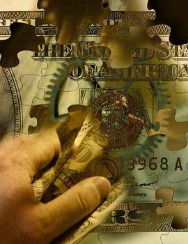 Dollar bill in human hand
