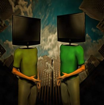 Surreal painting. Two men with TV-screens instead of their heads are dicussing. Skyscrapers on a background.