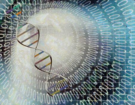 Modern art. DNA chain inside tunnel of binary code.