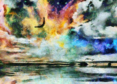 Surreal painting. Eagle flies in vivid sky.