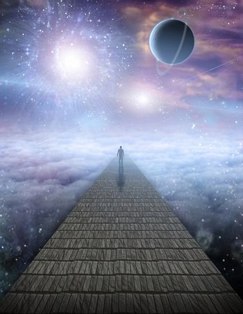 Lonely man on stone road in cloudy sky. Vivid galaxies, stars and planets