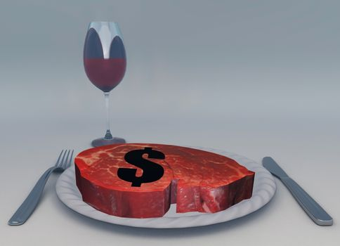Raw meat and glass of wine. Dollar sign.