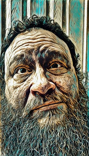 Emotions. Bearded man with puzzled look.