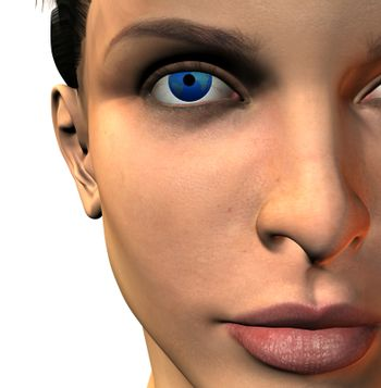 Womans face with earth eye