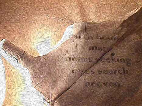 Cow skull and romantic words.