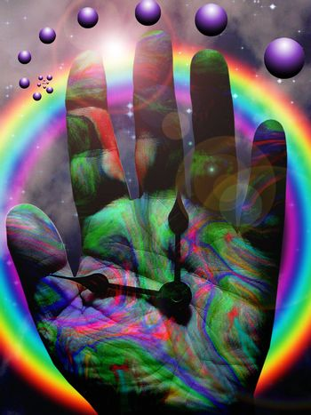 Colorful hand of time. Rainbow and purple spheres
