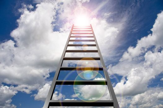 Ladder into sky. Sun in clouds