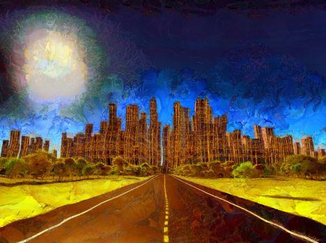 Desolate city. Painting