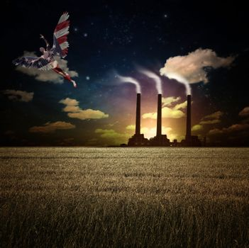 Surrealism. Naked man with wings in US national colors flies above field of wheat. Factory at the horizon.