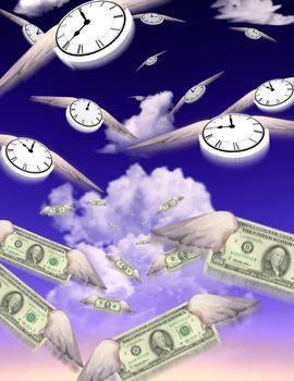 Winged dollars bills and clocks