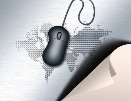 A curled paper and a computer mouse. World map background