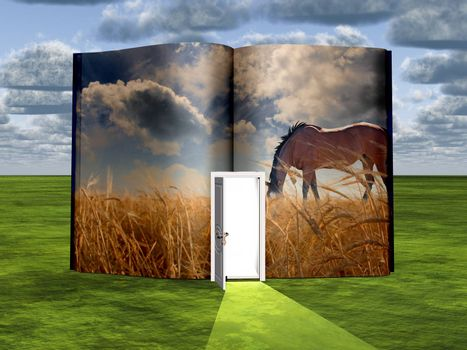 Surrealism. Book with opened door and horse in the field of wheat.