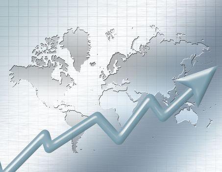 World Business. Chart arrow