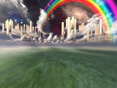 Heavenly City hovers in sky. Rainbow and Galaxy