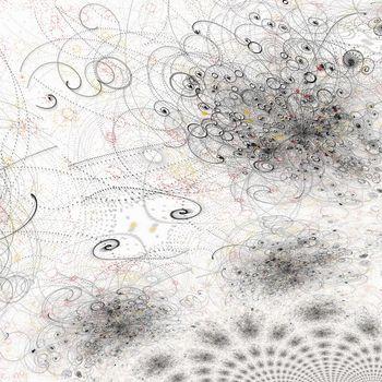 Dots swirls pattern. 3D rendering.