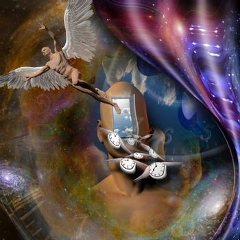 Surrealism. Man's head with opened door to another world. Naked man with wings represents angel. Winged clocks symbolizes flow of time. Warped space.