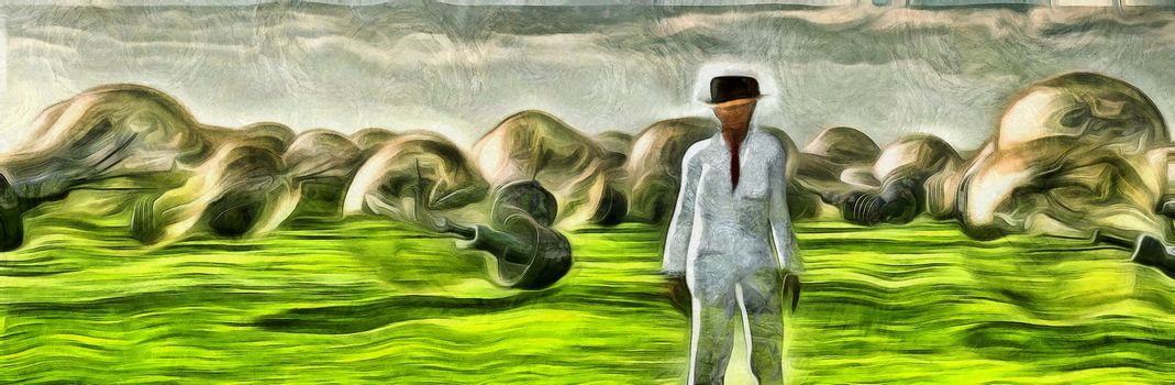 Surreal painting. Man in white suit stands in field with giant light bulbs.