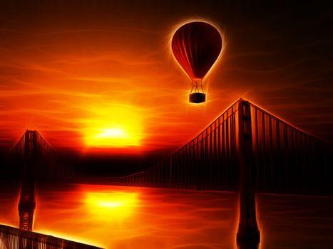 Hot Air Balloon and Golden Gate Bridge
