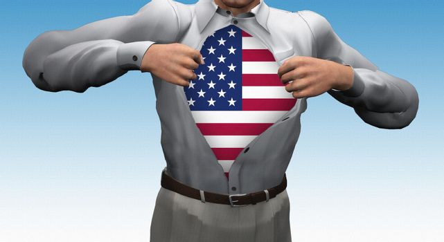 Opened shirt reveals USA Flag