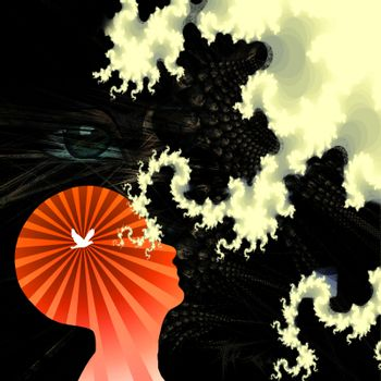 Human head silhouette with bird. Weird clouds and giant eye