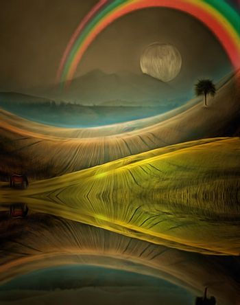 Surreal painting. Horse on a green field. Lonely tree on horizon. Big moon and rainbow in the sky.