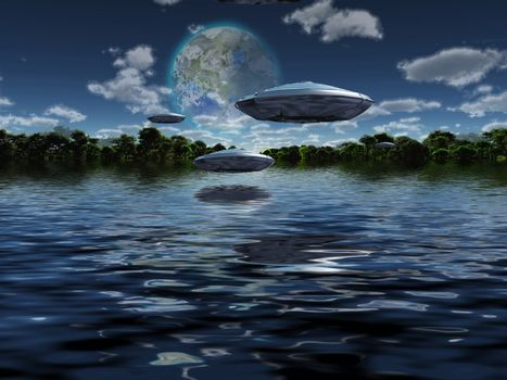 Flying saucers flies above ocean on water planet. Green forest at the horizon and terraformed moon in the sky