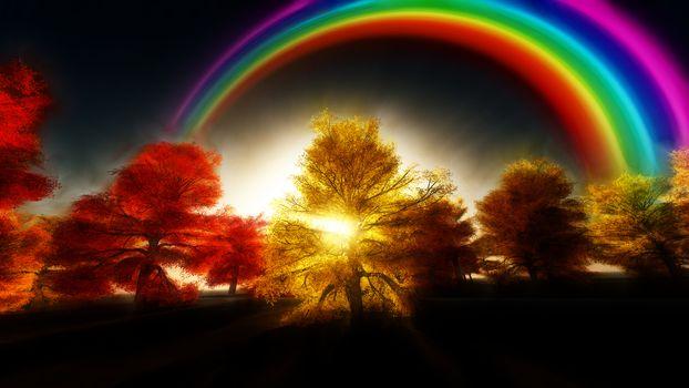 Painterly Autumnal Rainbow Forest