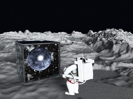 Astronaut found galactic cube on moon surface