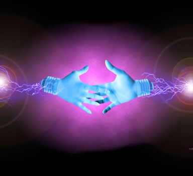 Electric hands about to shake