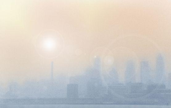 Heavy smog over city