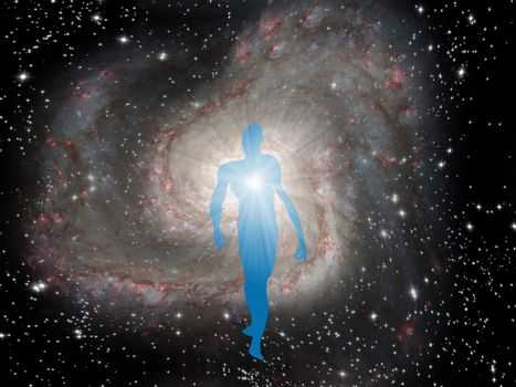Figure of man in center of galaxy.