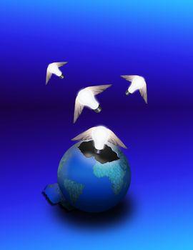 Winged bulbs emerge from an eggshell earth