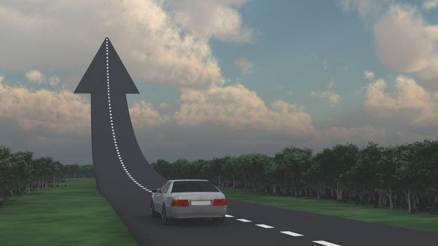 Car goes on the road in the shape of arrow.