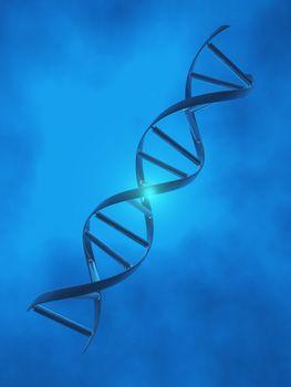 DNA Strand in blue light