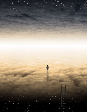 Man's Journey of the Soul. Bright horizon between clouds
