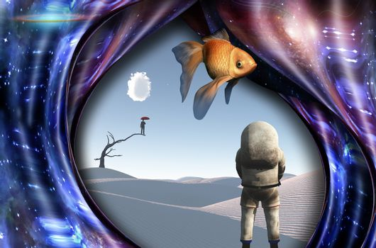 Surrealism. White desert. Man with red umbrella stands on a dry tree. Astronaut. Warped space. Golden fish.