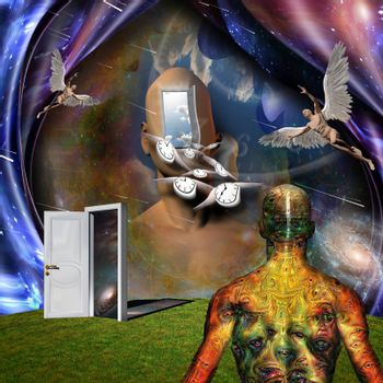 Surrealism. Man's head with opened door to another world. Naked man with wings represents angel. Winged clocks symbolizes flow of time. Man with weird demons eyes on skin. 3D rendering