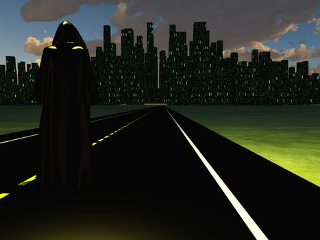 Figure in black cloak on a road to night city.
