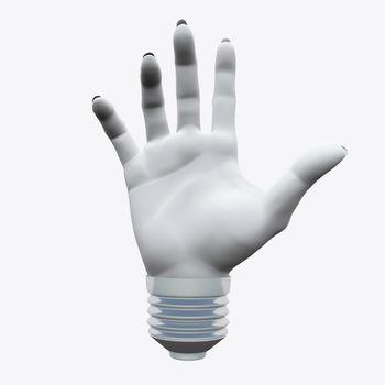 White human's hand shape in light bulb socket