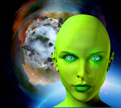 The face of female alien. Colorful universe and abstract exoplanet on a background.
