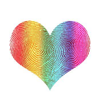 Fingerprint in shape of rainbow heart.