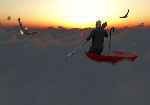 Surrealism. Man in a suit with paddle floats in red umbrella on clouds. Eagle flies in the sky.