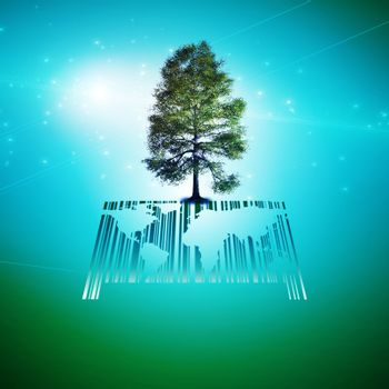 Green tree on a barcode and world map.