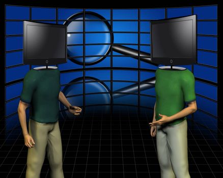 Surrealism. Two men with TV screens instead of head makes a dispute. Wall of screens and magnifier on a background.