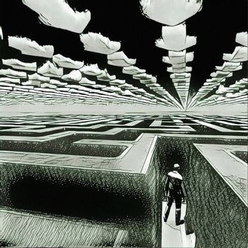 Surreal painting. Man in labyrinth. Clouds in shape of pointers.