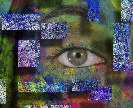 Abstract composition. Woman's eye in colorful background