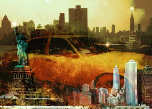 New York Composition. Yellow cab and Liberty statue.