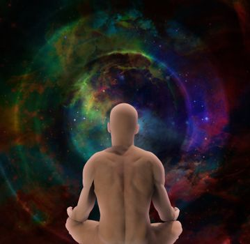 Man in lotus pose sits before endless spaces.