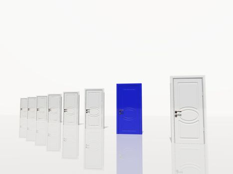 Sinigle  blue door of several diangonaly receding in white space.